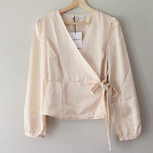 Glamorous    Wrap Blouse, Dressy Top, Bow - Small